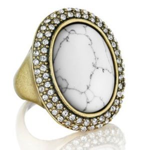 Howlite & Pave Oval Statement Ring